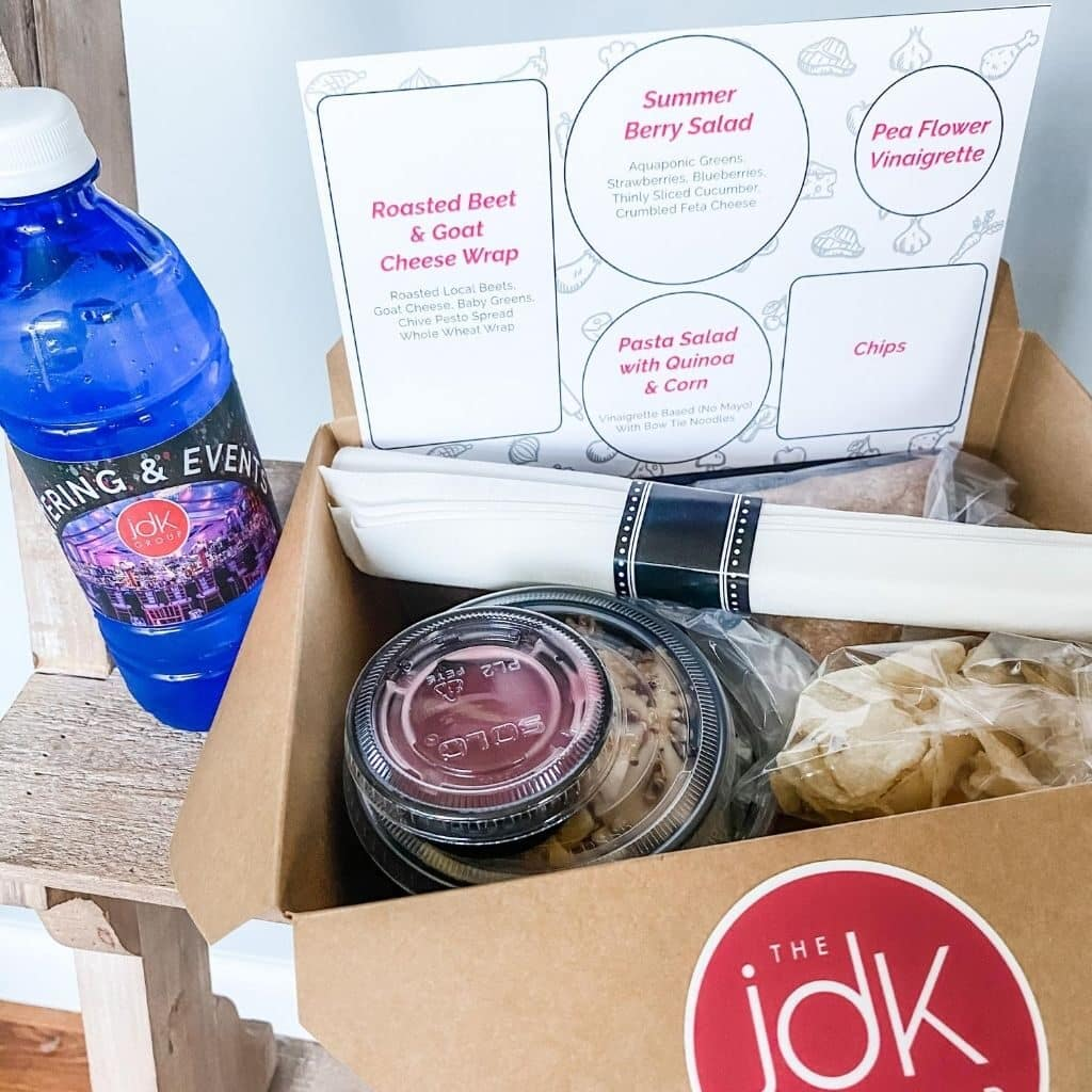 catered-boxed-lunch-with-water-bottle-corporate-catering-for-virtual-events-food-to-go-the-jdk-group-harrisburg-pa-best-caterer