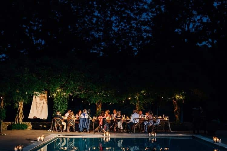 Helen and Chris: A Micro Wedding in Lancaster PA - nighttime poolside wedding photo