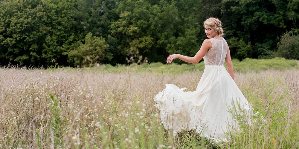 Lancaster Rustic Wedding bride field