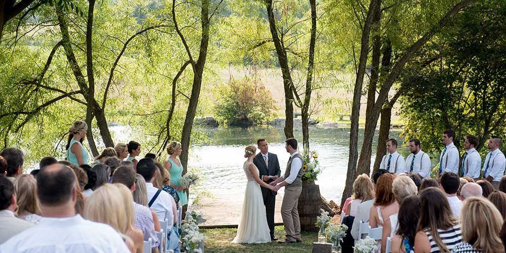Lancaster-Rustic Wedding ceremony lakeside