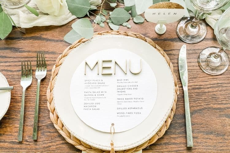Why Microweddings in Central PA are Trending. Custom circular menu set up at wooden table.